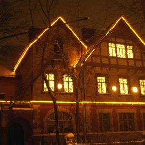 Новогоднее украшение фасада. Детсад №1 г. Пушкин