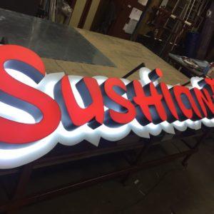SUSHIANA. Вывеска для суши-бара в интерьере